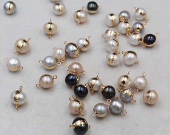 2mm Large hole,9mm-10mm Peach color round Pearls-Genuine fresh water Pearl 8pcs