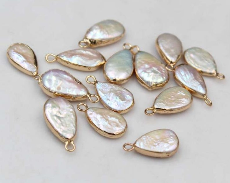 5 pcs White baroque pearls Rectangle Diamond Love Irregular rectangle shape freshwater pearls,copper plated trim pendant luster loose beads