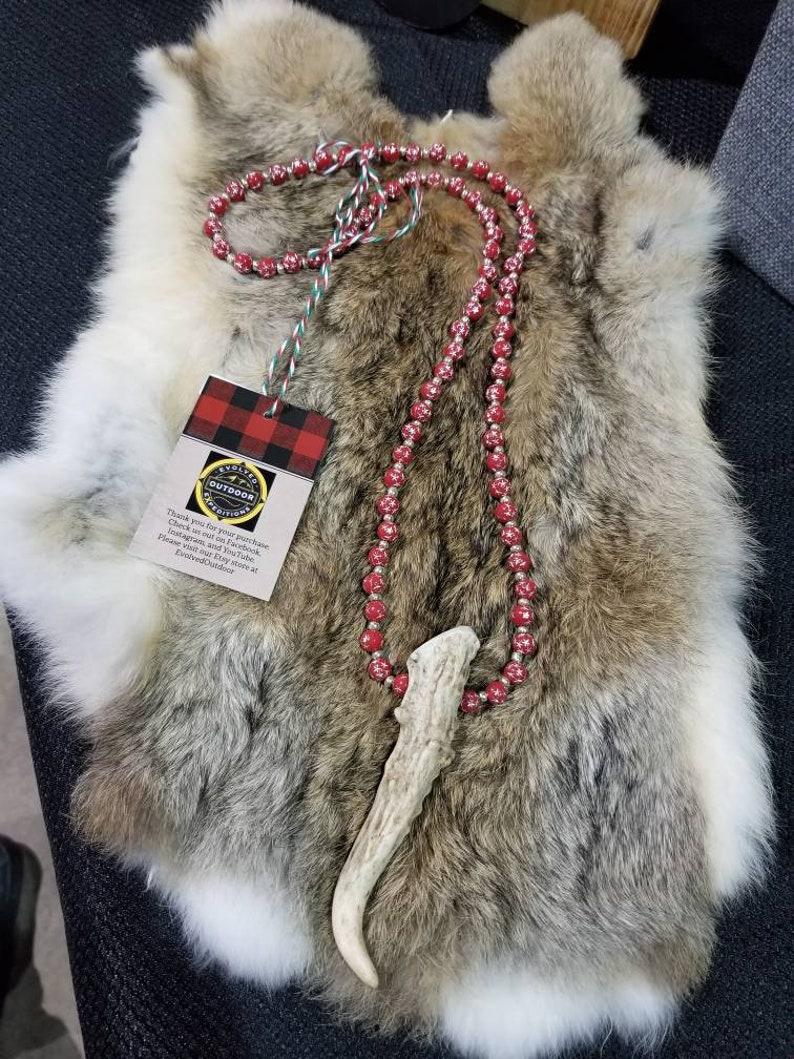 Handmade Antlered necklace with Christmas inspired acrylic beading.