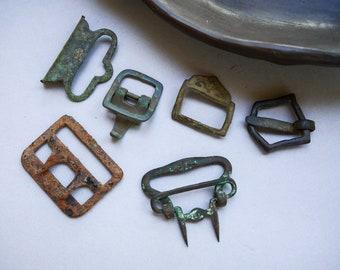 dark patina connectors Set of 2 Antique brass belt buckles parts
