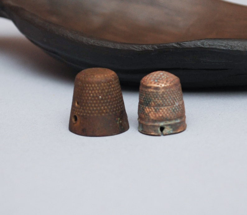 12 cup finger protection dark patina Set of 2 Antique brass thimbles sewing tool