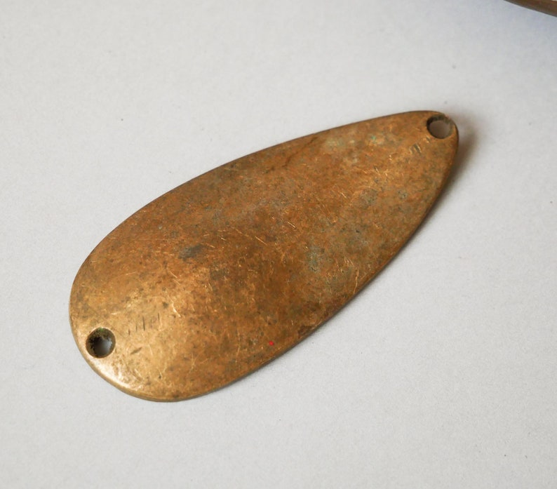 Antique solid brass fishing spoon lure with holes Metal Fishing Lure Baits original dark patina