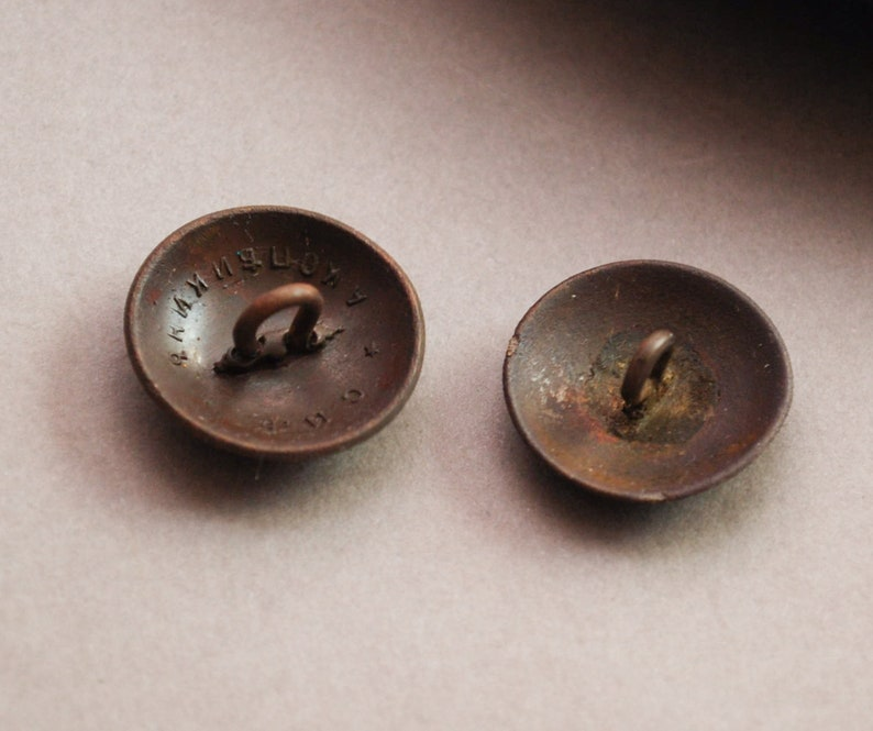 26 Set of 2 Antique brass military uniform buttons original black patina
