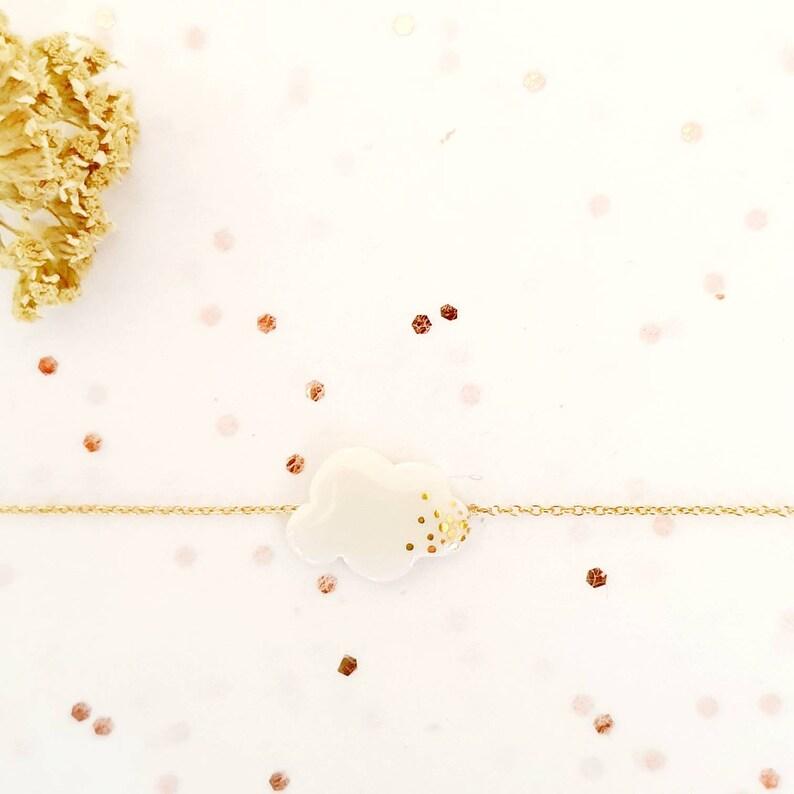 bijou po\u00e9tique Porcelaine et Gold Filled avec petite cha\u00eene de rallonge LAURA La belle au bois Bracelet Nuage Or
