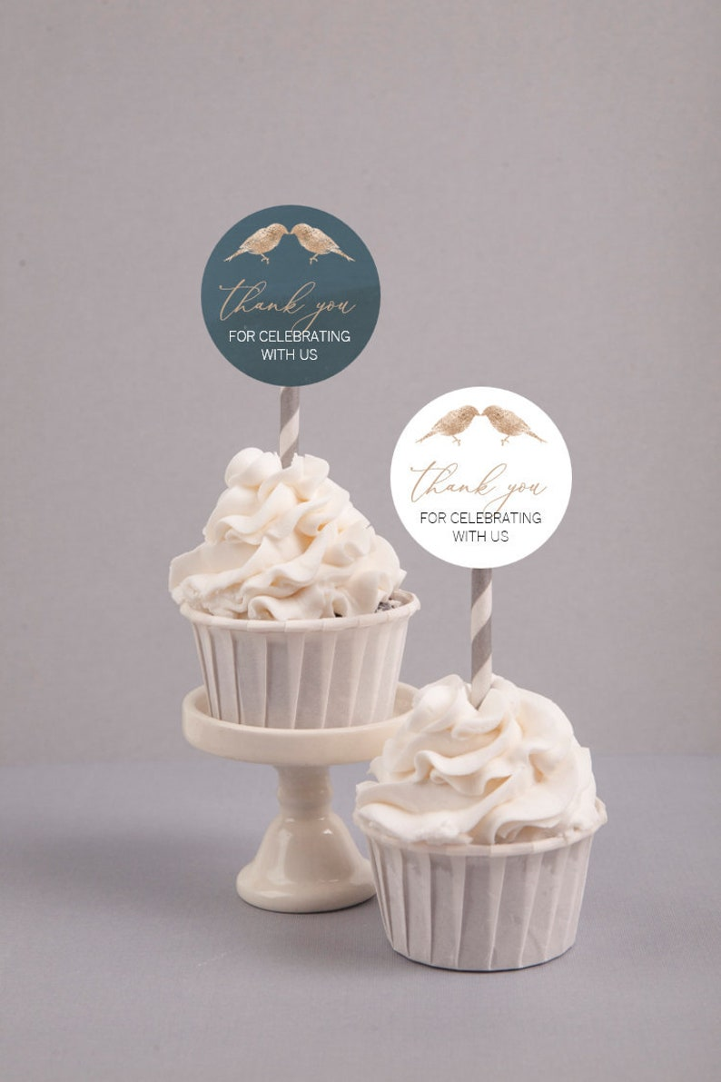 Faux Gold Edible Cupcake Toppers Wedding Cupcake Toppers Love Birds Cupcake Toppers Faux Gold and Navy Blue Cupcake Toppers