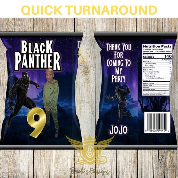 Custom Favors Party Favors. Birthday Chip Bag Custom Snacks Labels Black Panther Candy Bank Birthday Favors