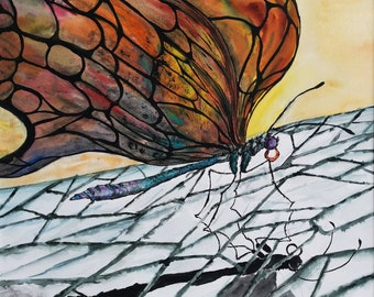 Original Watercolor painting Schmetterling Butterfly Ice Fire eis Flamme   Wall decor 40x30cm/ 15.7x11.8 inch