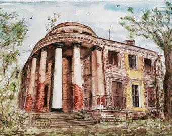 Original Watercolor painting Urban Landscape St. Peterburg Wall decor 36x51cm/ 14,2x20,1 inch