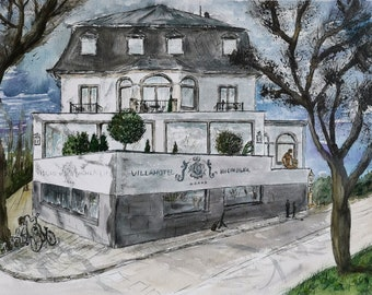 Original Watercolor painting Köln Rodenkirchen Villahotel Rheinblick Germany Deutschland Wall decor 40×50 cm/ 15.7×19,7 inch
