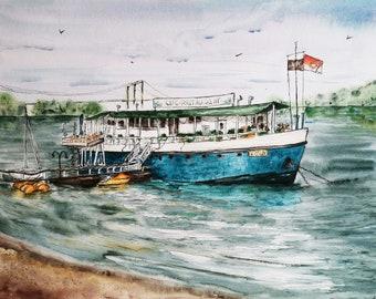 Original Watercolor painting Rodenkirchen Köln Landscape Ship Schiff River Meer beach Sommer Summer Wall decor 36x48cm/ 14x18.9 inch