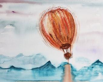 Original Watercolor painting Luft ball air Ballon Berge Wall decor 36x51cm/ 14,2x20,1 inch