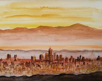 Original Watercolor painting Landscape City Downtown town mountans Wall decor 30x40cm/ 11.8x15.7 inch