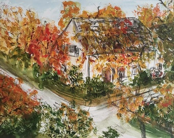 Original Watercolor painting Landscape Kóln Rodenkirchen Herbst Autumn Haus Streets Urban Wall decor 36x48cm/ 14,2x18.9 inch