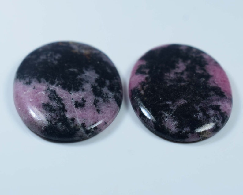 Craft Supplies Natural Rhodonite Cabochon Gemstone For Jewelry 2 Pcs  73Cts 33x25x4-33x23x3mm #441 Rhodonite cabochon Jewelry Making