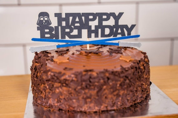 Swell Star Wars Lightsaber Happy Birthday Cake Topper Party Etsy Funny Birthday Cards Online Sheoxdamsfinfo