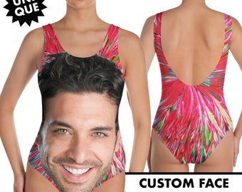 eb3ae353c0e Custom Big Face Swimsuit, Faces Swimsuit, One Piece Swimsuit, Personalized  Sweamwear, Customized Face, Bathing Suit, Gift For Her