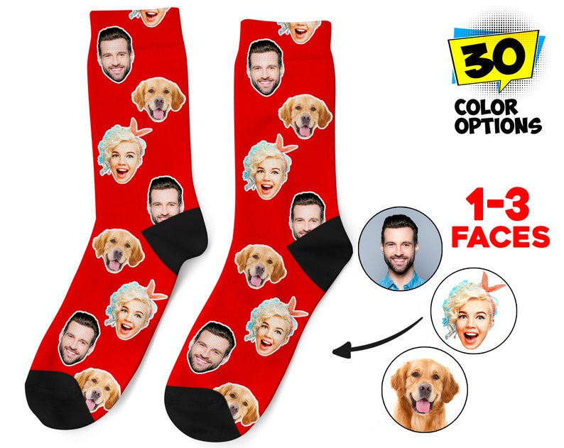 Customized Funny Photo Gift For Her Personalized Photo Socks Him or Best Friends Picture Dog Socks Pet Face on Socks Custom Face Socks