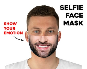 Selfie Face Mask, Custom Photo Face Mask, Selfie Personalized Mask, Customized Washable and Reusable Face Mask, Custom Facemask, Breathable