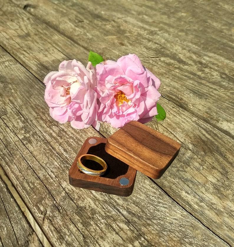 \u0421ustom Walnut Ring Box  Personalized wooden Ring Box  Slim Square Ring Box  Rustic Ring Box  Ring Holder Handmade  Unique Wedding Box