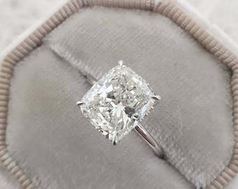 4.20 CT Cushion Cut White Diamond Engagement Ring/ 14K White Gold Over Ring/ Elongated Hidden Halo Engagement Ring/ Cushion Moissanite Ring