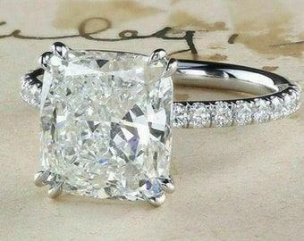4.00 Carat Cushion Cut Diamond Engagement Ring, Cushion Cut Diamond Wedding Ring, Diamond Engagement Ring, Free Shipping In USA