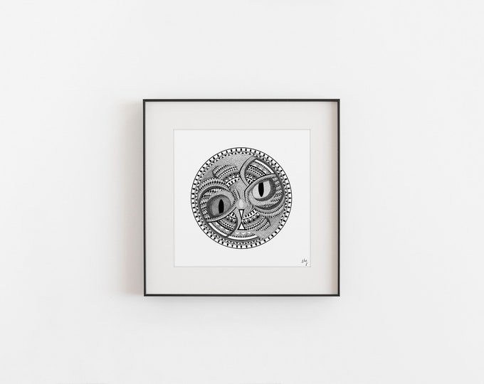 "Featured listing image: PRINT - ILLUSTRATION ""Yin-yang animal"" - Print on art paper"