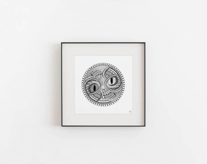 "Featured listing image: PRINT - ILLUSTRATION ""Yin-yang animal"" - Print on art paper"