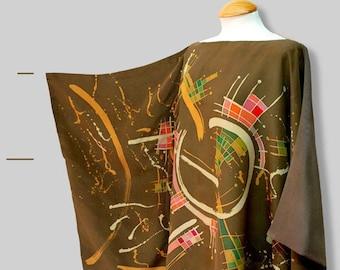 Abstract Batik Blouse in ochres