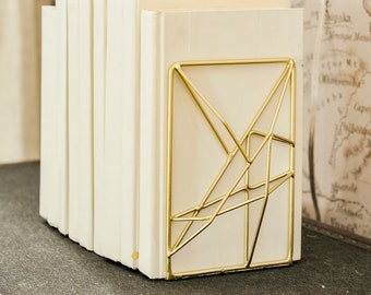 Bookends - Pair of Gold Book Restand stopper - modern minimal geometric