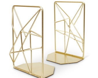 Bookends - Pair of Gold Modern Simple Minimalist Bookends ~ Retro vintage MidCentury Modern Abstract Geometric Decor