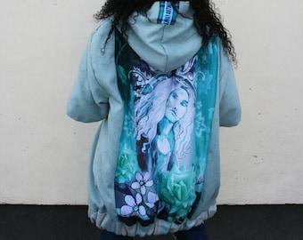 "Turquoise blue Coat,  art print on back,  original, custom, women's jacket, designer, Emily Nayhree Dawson,  ""CHERRY BLOSSOM"" artwork"