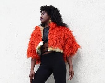 Faux fur coat, Autumn Coat, Winter Coat, Orange Coat, Designer Coat, Emily Nayhree Dawson, Fur Coat , Orange, Fall Coat, Crop Jacket