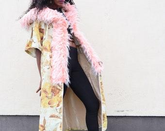 Designer Coat, Emily Nayhree Dawson, Velvet Flower Coat, Yellow and White Coat, Fashion Coat, Long Coat,