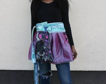 Reversible Turquoise Blue, Pink Purple Black skirt, art print, Emily Nayhree Dawson, Urban clothing, Short pattern skirt, Street style skirt