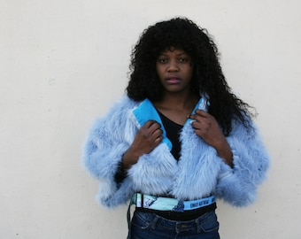 Baby blue Coat , Faux fur coat, cropped jacket, fur jacket, art coat, blue coat, original, designer coat, Emily Nayhree Dawson