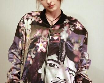 Unisex bomber jacket, Men's bomber jacket, Women's bomber jacket, Casual purple bomber jacket, Art urban street style jacket