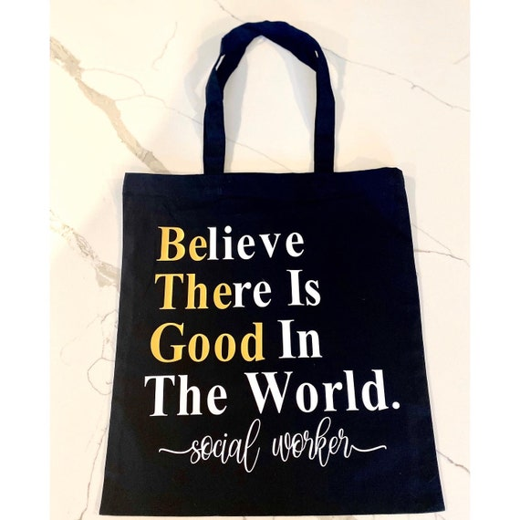 Gift Canvas Zipper Pockets Social Work Worker Is A Work Of Heart MSW BSW Carryall
