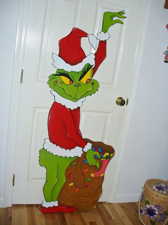 Grinch stealing Christmas Lights 62''x 23'' yard art decoration