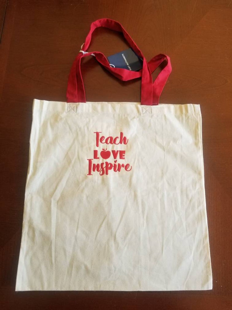 Teach Love Inspire Teacher embroidered lightweight tote bag