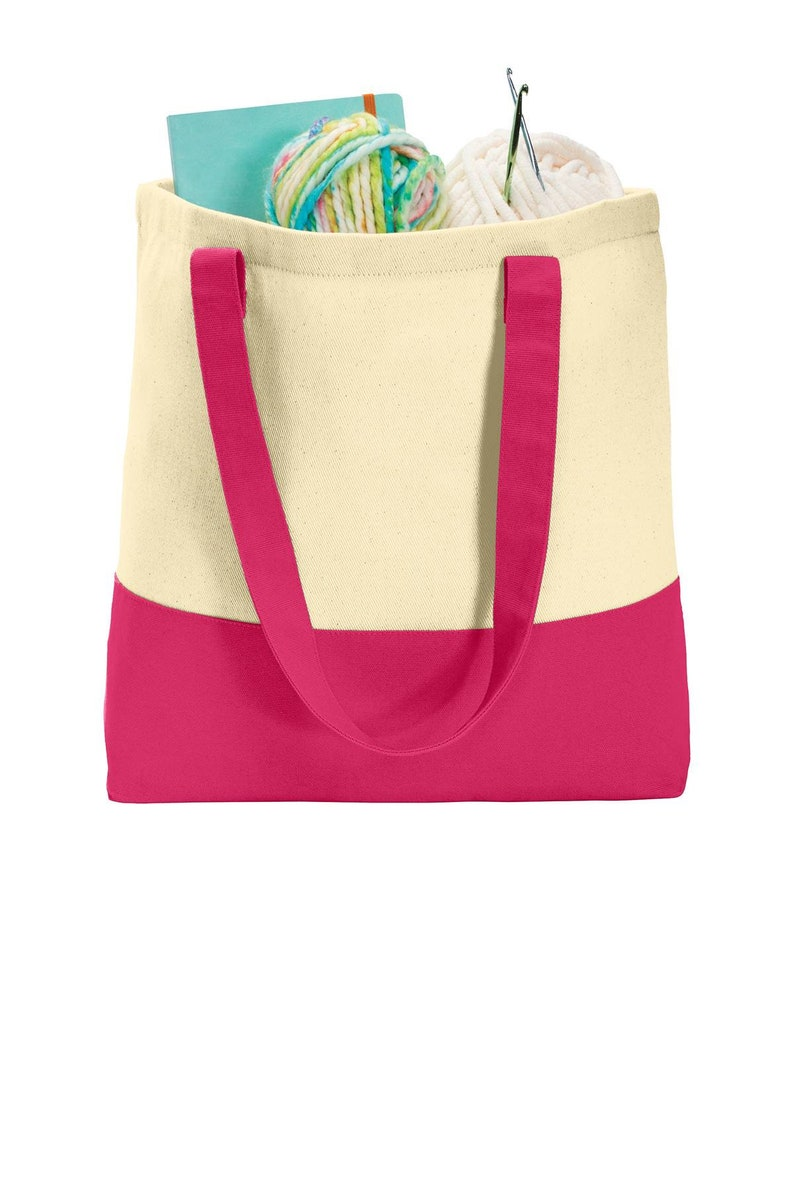 Loved and Blessed embroidered color block tote bag