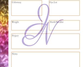 Personal Yarn Catalog Page, PDF ONLY