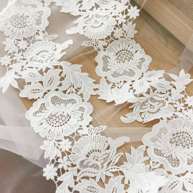 Wedding Dress Trim Bridal Lace Sell By The Yard Mesh Embroidery Lace Trim Hollow Lace Trim 2019 New Style Flower Lace Trim