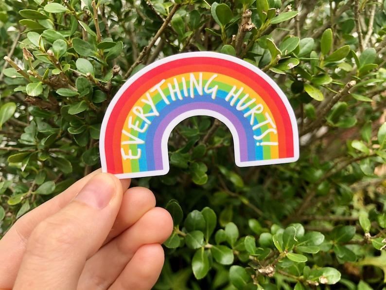 CRPS Awareness EDS Everything Hurts 3\u201d Rainbow Vinyl Sticker Chronic Pain Spoonie Fibromyalgia Awareness Chronic Illness