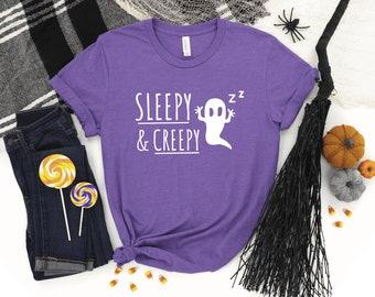 Sleepy and Creepy Halloween Unisex T-shirt   Funny Fall Tee, Chronic Fatigue, Spoonie, Chronic Illness, Autumn Scary Shirt