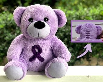 "Chiari Malformation ""Zipperhead"" Awareness 12"" Bear   Purple, Awareness Ribbon, Scar Buddy, Chiari Decompression Surgery, CCI Surgery"