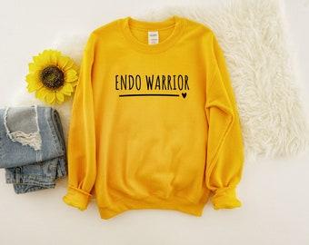 Endo Warrior Unisex Crewneck Sweatshirt   Pelvic Pain, Cramps, Uterus, Endometriosis Surgery Gift, Spoonie