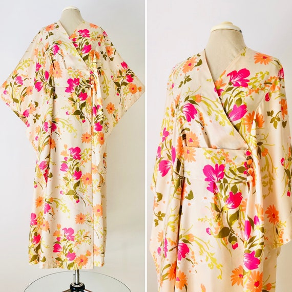 Vintage Fuchsia and Tangerine Floral Rayon Howard'