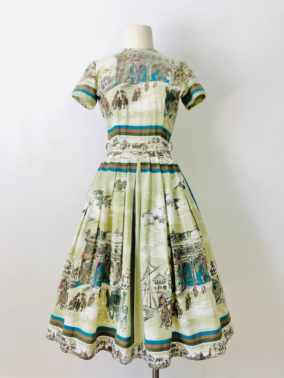 Vintage 1950's Kay Juniors Cotton Novelty Print Da