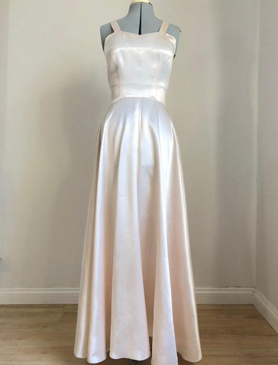 Vintage 1940's Ivory Slipper Satin Gown
