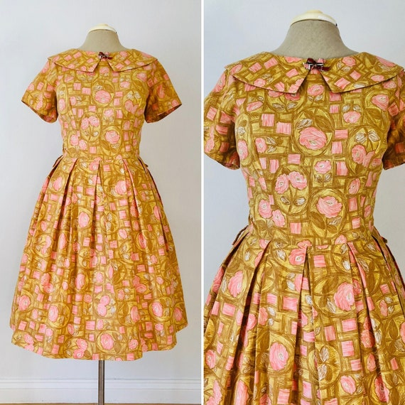 Vintage Early 1960's Cotton Floral Day Dress - XL